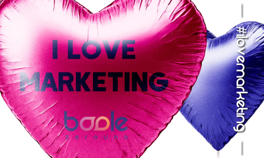 palloncino cuore fucsia e blu i love marketing